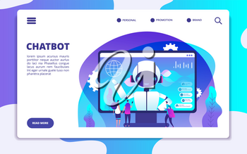 Chatbot landing page. Ai robot chatting with woman and man. Artificial intelligence presentation vector concept. Illustration of page support with chatbot, chatterbot chatting, robot helpline