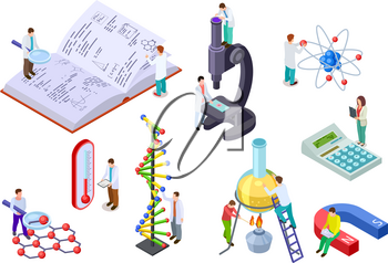 Isometric science set. Scientist and student with huge chemistry and physics lab equipment. Science laboratory education 3d vector set. Illustration of research science chemistry in laboratory