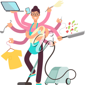 Super busy mother working and cooking simultaneously vector concept. Busy and cooking, mother with baby and work illustration