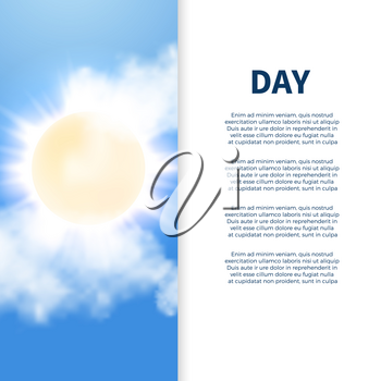 Sunny day poster banner design with text sun and clouds. Vector illustration