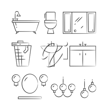 Bathroom furniture and lighting hand drawn line icons. Shower and bath, vector illustration