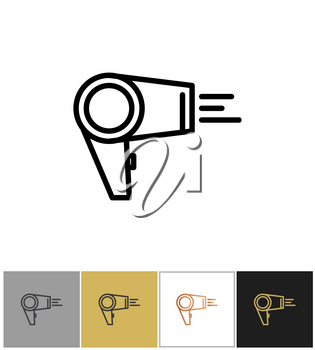 Hair dryer, blowdryer icon, hotel air blowing equipment on white and black backgrounds. Vector illustration