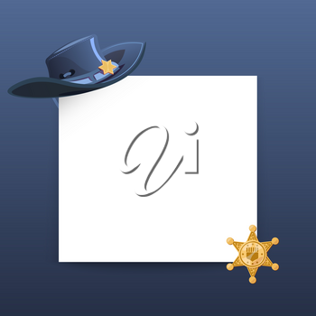 Western style greeting card vector template with blank paper sheet, cowboy hat and sheriff gold star illustration