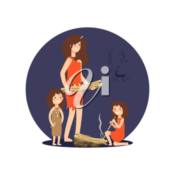 Stone age woman and girls get fire for warming up isolated on white. Vector illustration
