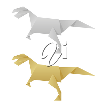 Silver and golden paper origami dinosaurs isolated on white background. Vector illustration