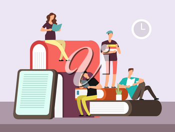 Young woman and man, college students reading book. Book festival banner vector design illustration