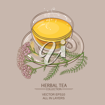 cup of yarrow tea  on color background