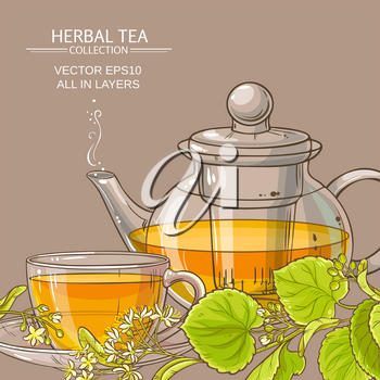 linden tea in teapot and cup of tea on color background