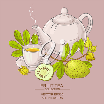 soursop tea in teapot and cup of tea on color background