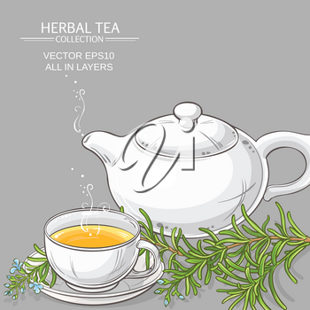 cup of rosemary tea and teapot on color background