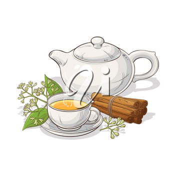 cup of cinnamon tea and teapot illustration on white background