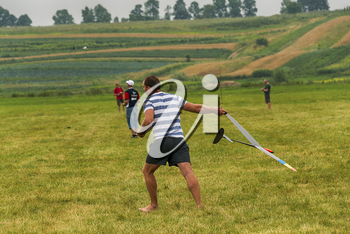 Lviv, Ukraine - July 23, 2017: Unknown aircraft modelers  launches his own radio-controlled  model  glider  in the countryside near the city of Lviv., Ukraine.