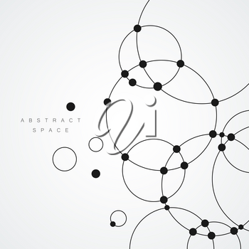 Vector background with overlapping circles and dots. Connect creative structure.