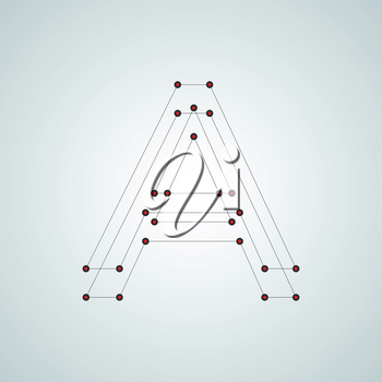 Letter A. Abstract design with connected dots and lines.