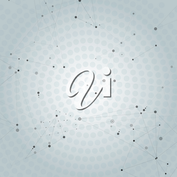 Abstract polygonal background with connecting dots, lines and place for text.