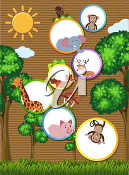 Border template with wild animals on cardboard paper illustration