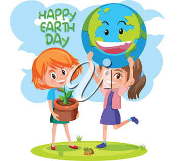 Happy earth day with girls concept illustration