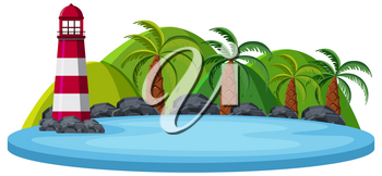 Isolated nature island on white background illustration