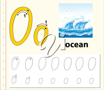 Letter O tracing alphabet worksheets illustration