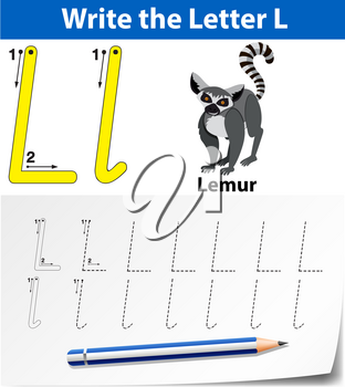 Letter L tracing alphabet worksheets illustration