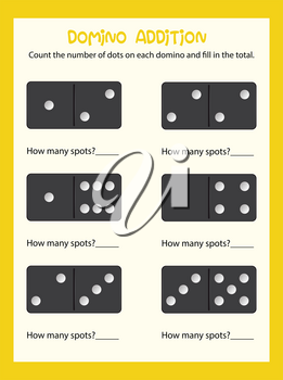 Domino couting math worksheet illustration