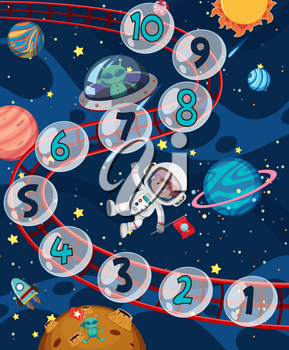Count number space theme illustration