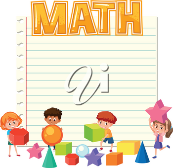 Math children on note template illustration