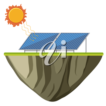 Solar energy on isolated island illustration