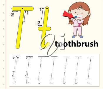 Letter T tracing alphabet worksheets illustration