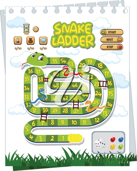 A snake board game template illustration