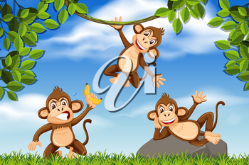 Cheeky monkeys in jungle scene illustration