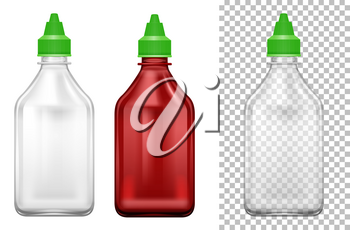 Bottle with green lids in two colors illustration