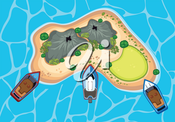 An Island From Bird Eyes View illustration