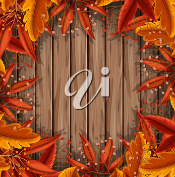 Autumn Leaf on Wooden Template illustration