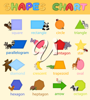Colourful Shapes Chart with Cute Animals illustration