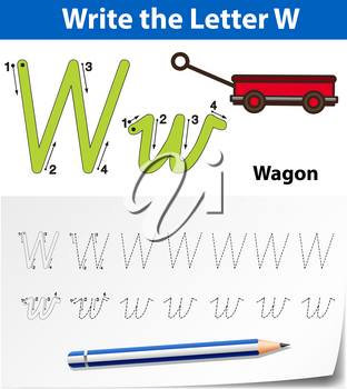 Letter W tracing alphabet worksheets illustration