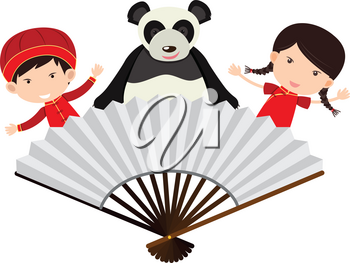 Chinese boy and girl with panda behind the fan illustration