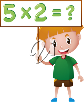 Boy holding board with math queation illustration