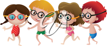 Four kids wearing swimming goggles illustration