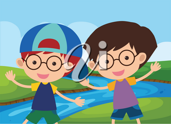 Two happy boys by the river illustration