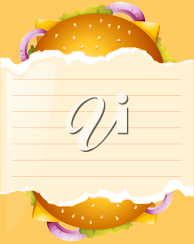 Paper template with cheeseburger illustration