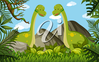 Two brachiosaurus in the field illustration