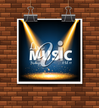Live music poster on the wall illustration