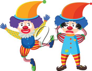 Two circus clowns in colorful costume illustration