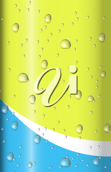 Water drops on shiny yellow and blue background illustration