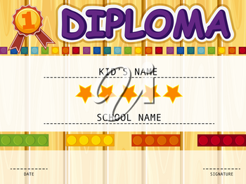 Diploma template with colorful blocks background illustration