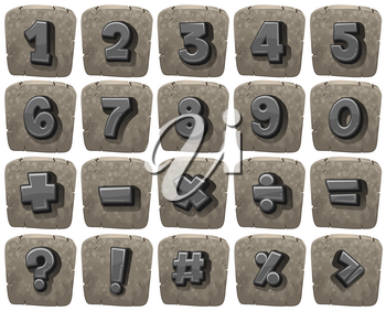 Font design for numbers and math signs illustration