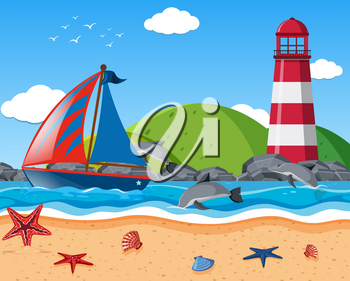 Background scene with sailboat and lighthouse in the sea illustration