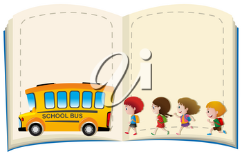 Border template with kids and schoolbus illustration