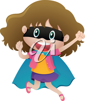Girl wearing mask and cape illustration
